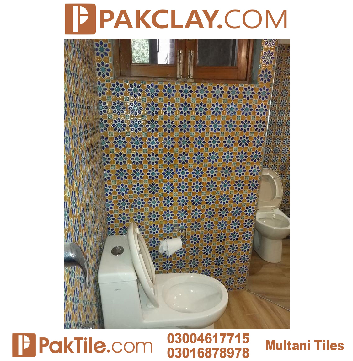 Pak Clay Cheap Rates Toilet Blue Multani Tiles For Washroom