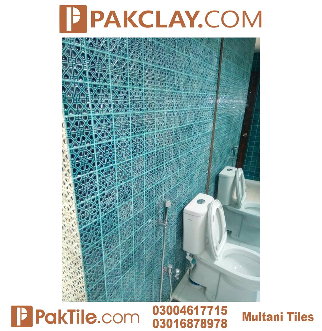 Pak Clay Blue Colors Multani Tiles Design For Bathrooms